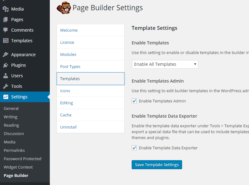 Enable templates in beaver builder
