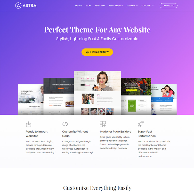 Astra Theme official website created with Beaver Builder & Ultimate ...