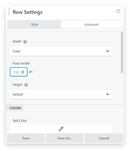 Beaver fixed row content width settings